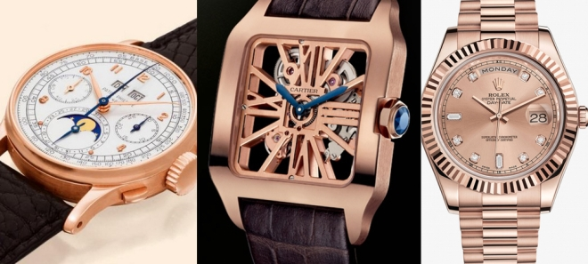 From left to right : Patek 1518 (rose gold), Cartier Santos Dumont Squelette (red gold), Rolex Day-Date (everose gold)